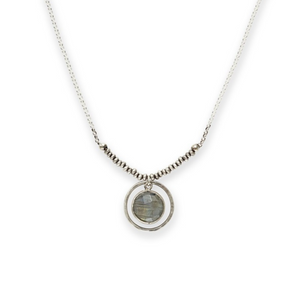 Labradorite Coin Necklace on Sterling Bead and Chain