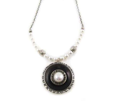 Oxidized Sterling Silver Pendant with focal pearl
