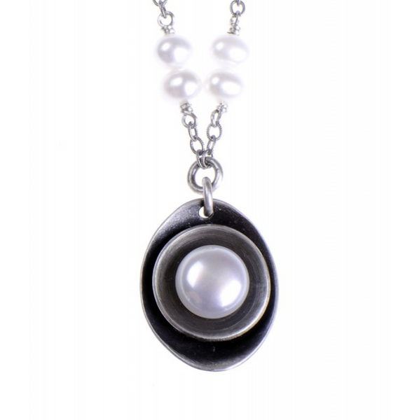 Cupped White Pearl Pendant