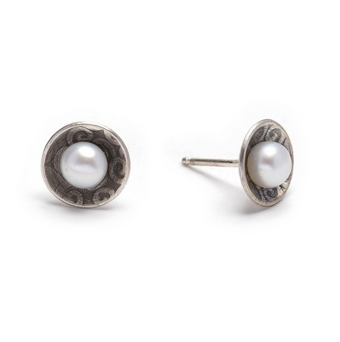 Textured Oxidized Sterling Disc with Pearl Post Earring
