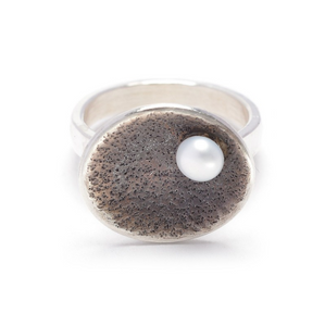 Oxidized Oval Sterling Ring with White Pearl