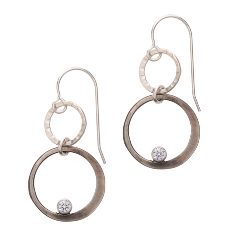 Double Sterling Circle Drop with CZ Earring