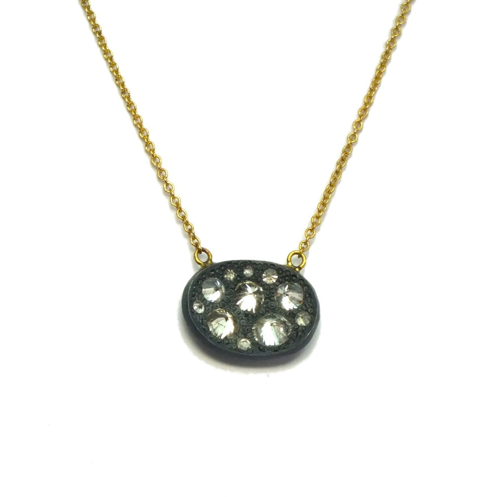 Oxidized Silver Concave Oval with Diamonds Necklace