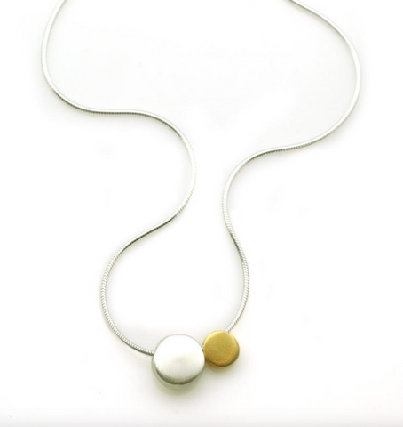 Two Pebble Silver and Vermeil Necklace