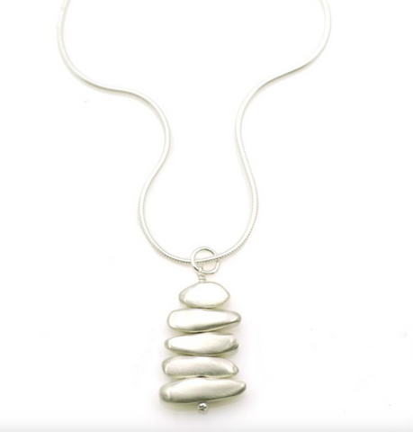 Stacked Pebbles Silver Necklace