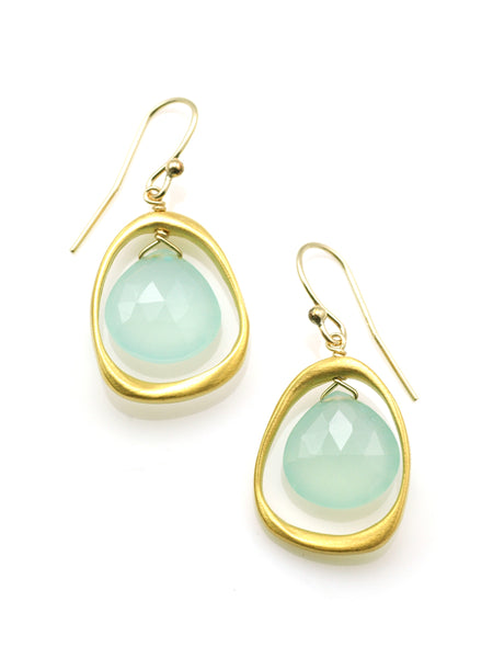 Open Circle with Chalcedony Earrings