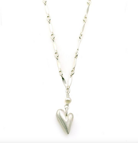 Pearl and Heart Silver Necklace