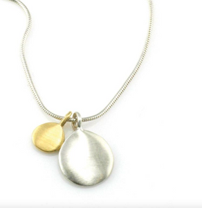 Double Discs Silver and Vermeil Necklace
