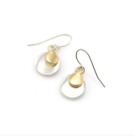 Double Discs Silver and Vermeil Earrings
