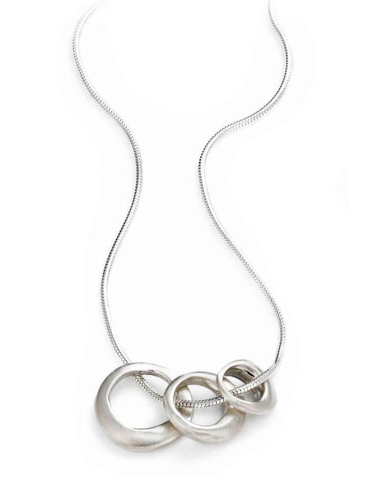 Three Open Silver Circle Necklace