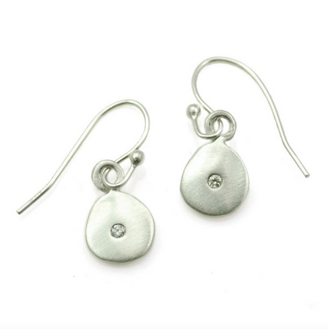 Hanging Disc with Diamond Silver Earrings