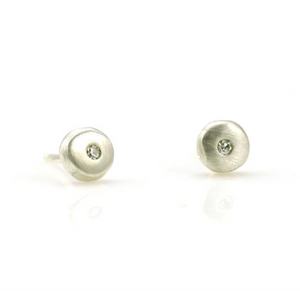 Tiny Silver Circular Posts with Diamond Earrings