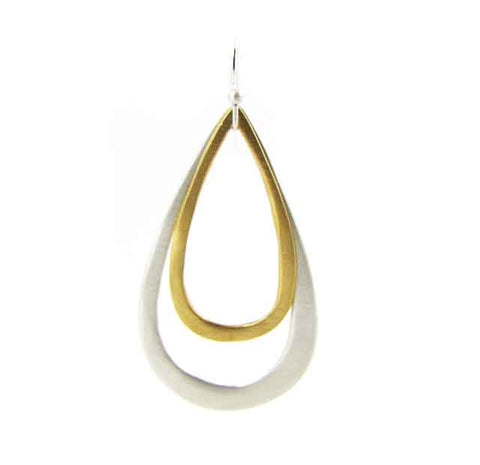 Double tear drop earrings with vermeil and silver