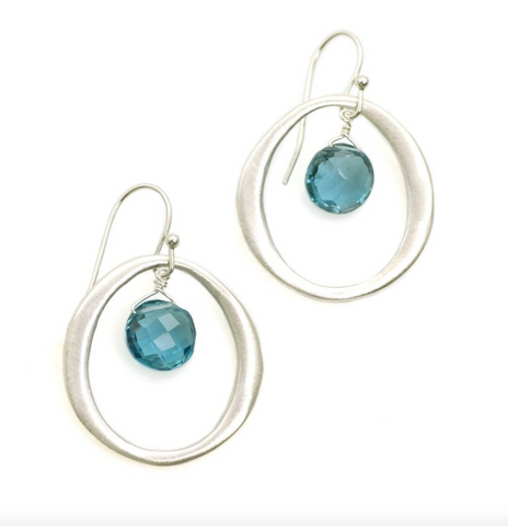 Silver Circle with Blue Topaz Earrings