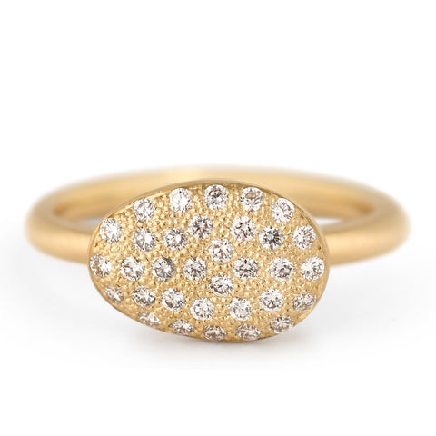 Pebble Ring with Pave Set Diamonds