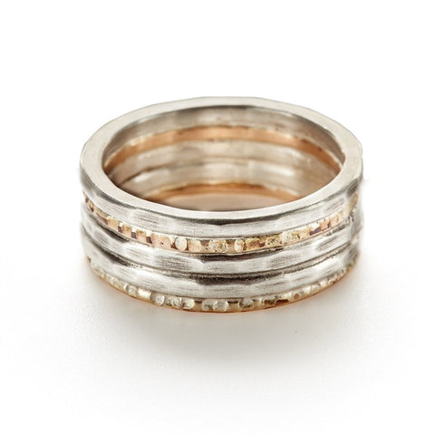 Hammered Sterling and 14kt Gold Ring