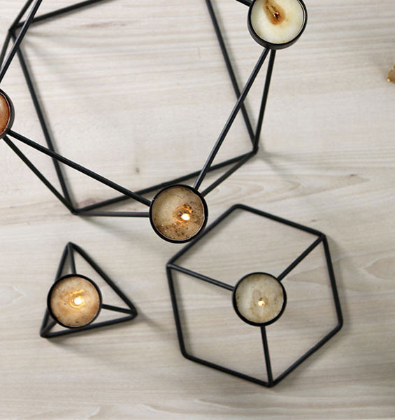 geometry wire candle holders