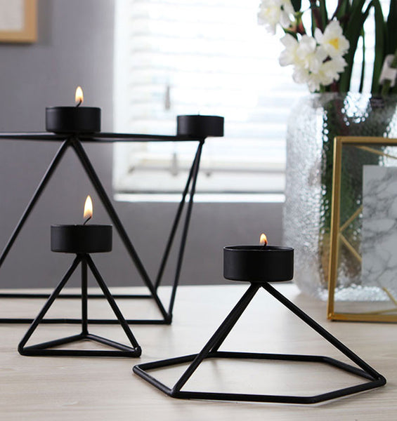 Geo Wire Candle Holder Set