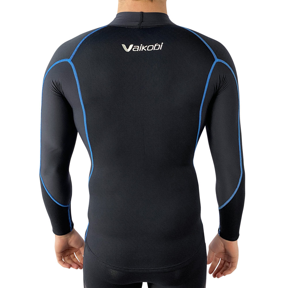 Vaikobi V Cold Flex neopren long-sleeve paddle shirt black-cyan front
