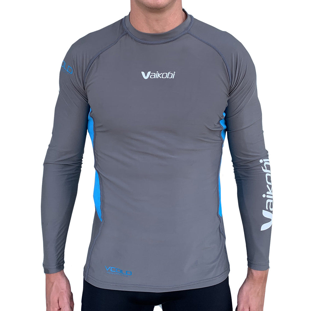 Vaikobi V Cold Performance Base layer top grey-cyan front