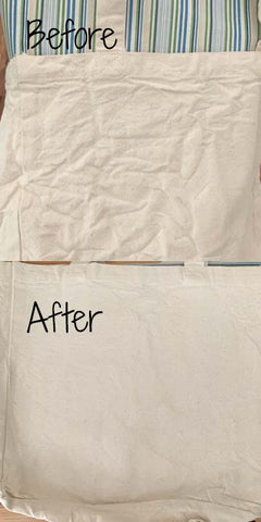 before and after tote bag ironing