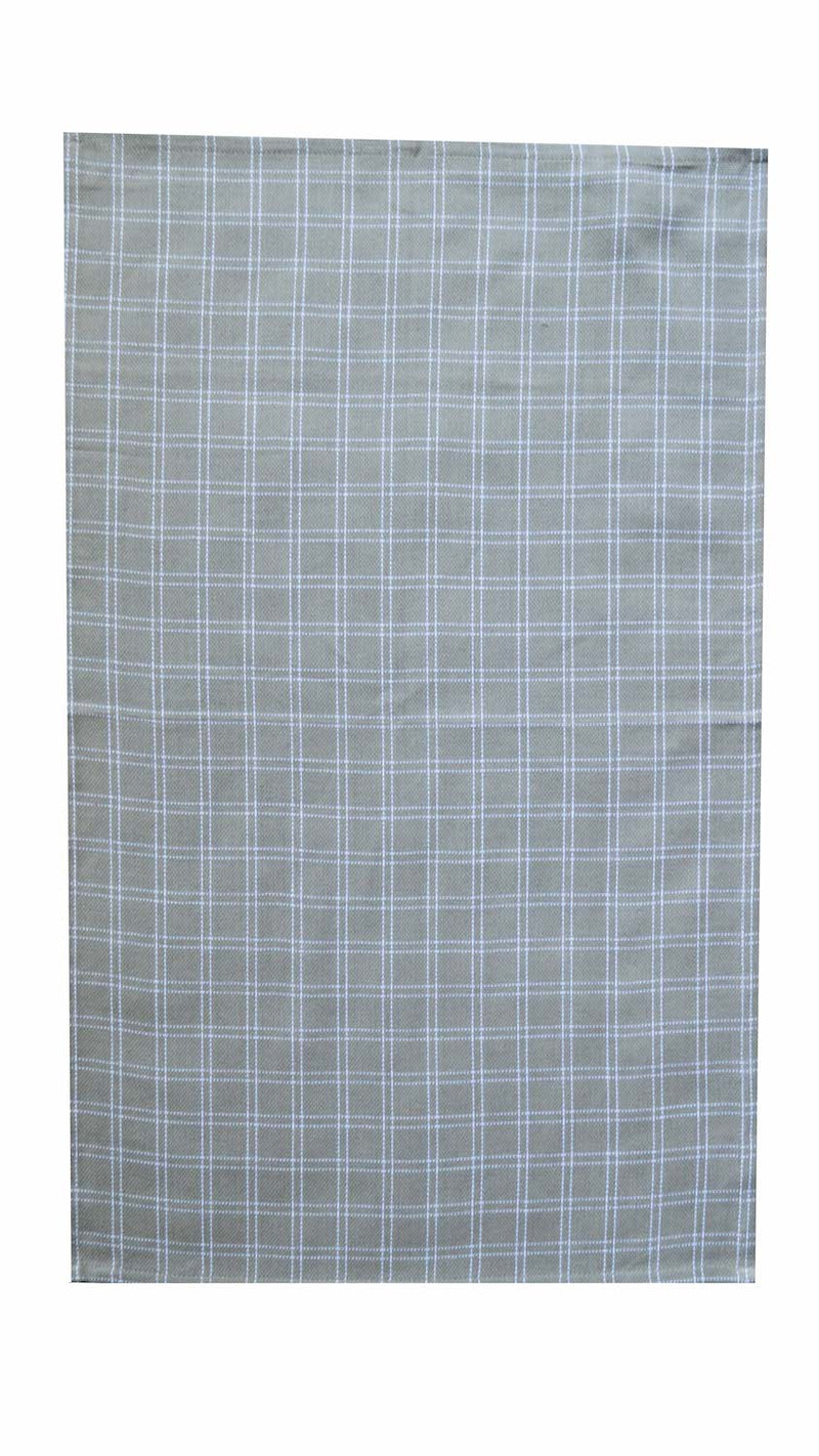 Tea Towel - Dunroven House Basket Weave Box Check Taupe and White