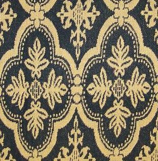 New Hope Arlington Black Mustard Upholstery Fabric