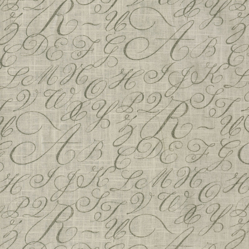 Wavery Cursive Caps - Silver 681970 Fabric Swatch