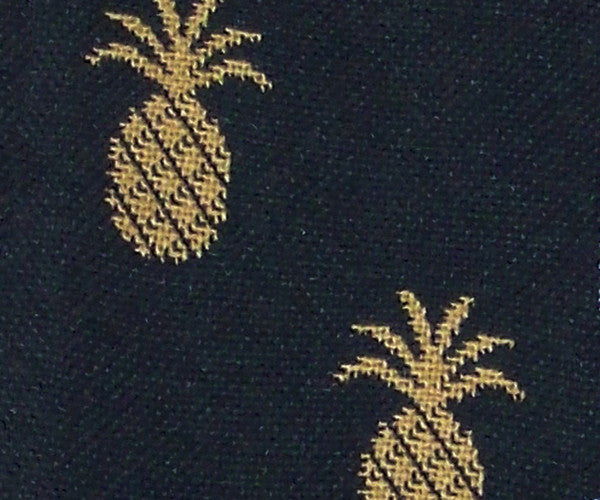 New Hope Pineapple-Black/Mustard Upholstery Fabric