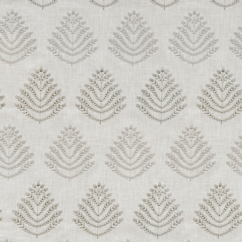 P/K Lifestyles Royal Fern Embroidery - Silver 408842 Upholstery Fabric