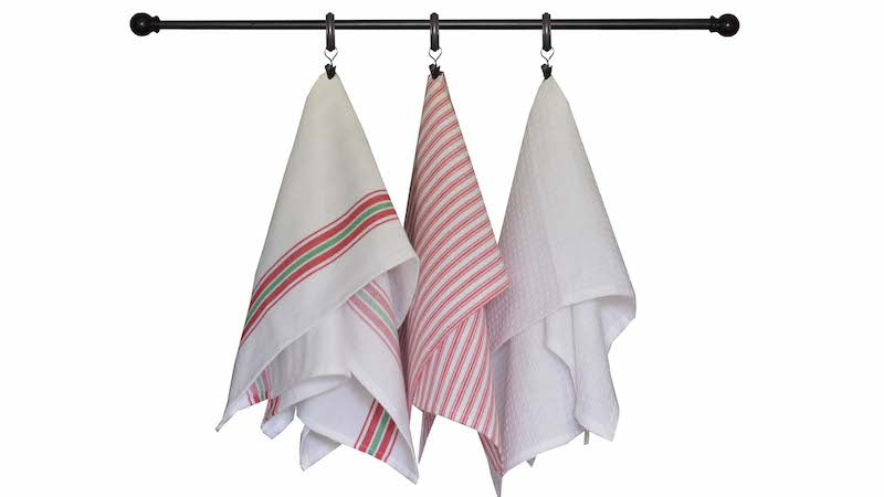 Christmas Seasonal Towel Set of 3 - Bright Red and White