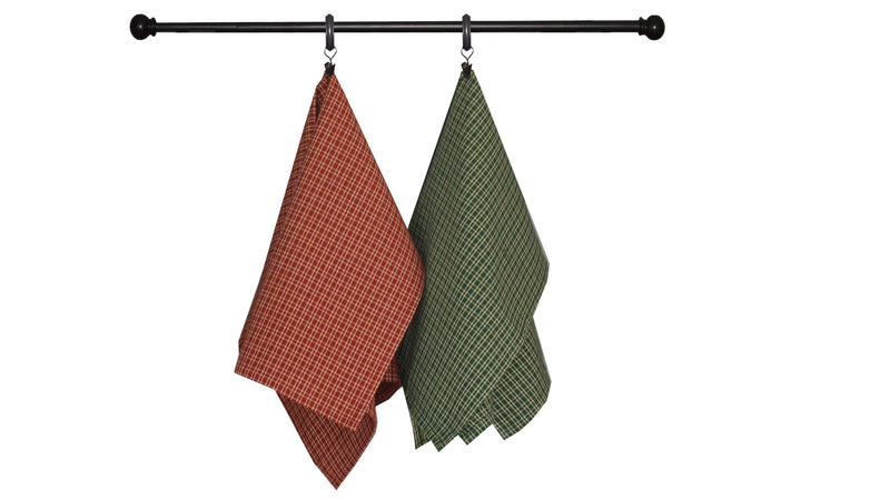 Christmas Seasonal Towel Set of 4 - Red and Green Ticking Stripe