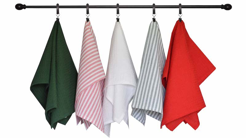 Christmas Seasonal Towel Set of 5 - Red and Green Ticking Stripe