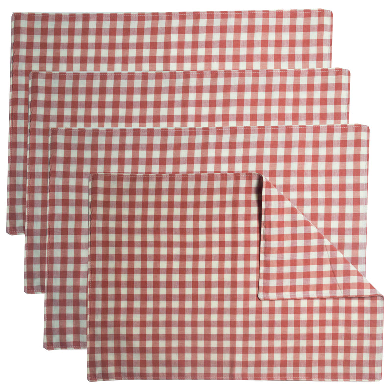 Rose and Cream Check Homespun 2 Sided Placemat Set of 4