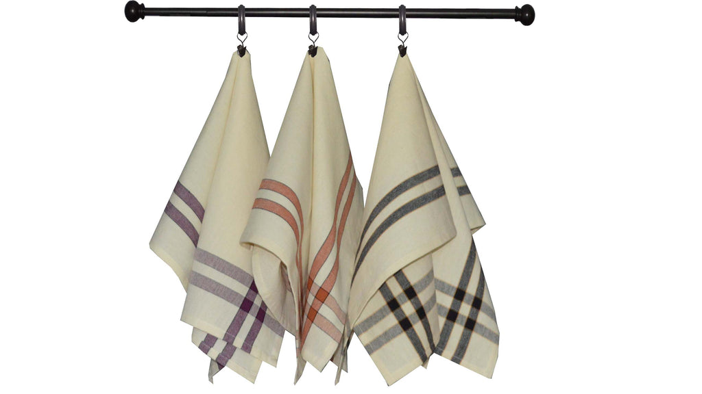 Halloween Seasonal Towel Set of 3 - Two Stripe Border on Cream