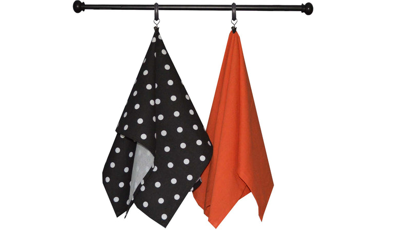 Halloween Seasonal Towel Set of 2 - Melon Print/Black Solid