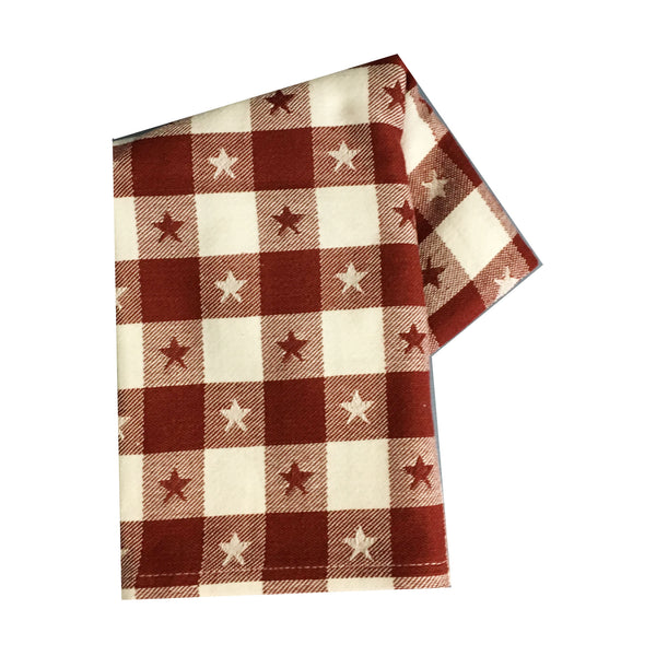 Tea Towel - Check with Woven Star