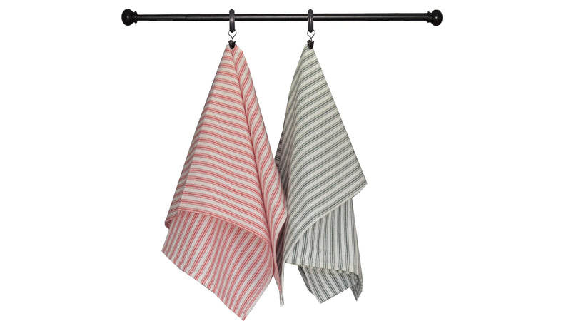 Christmas Seasonal Towel Set of 2 - Red and Green Ticking Stripe
