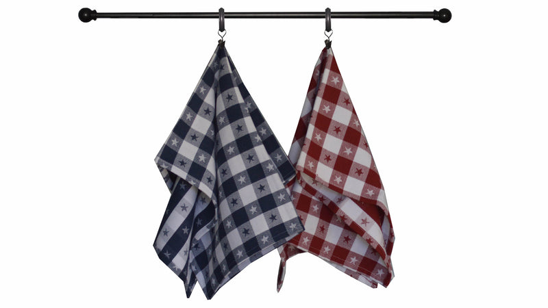 Patriotic Seasonal Towel Set of 4- Jacquard Star Check