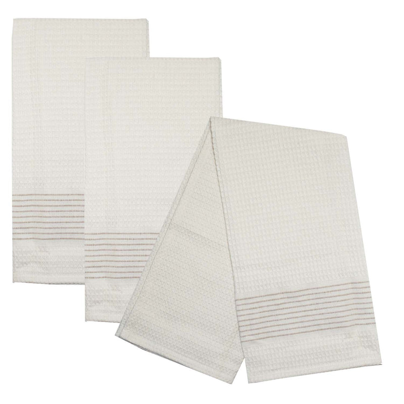 Ladder Stripe Waffle Weave Towel Set of 3 - Taupe