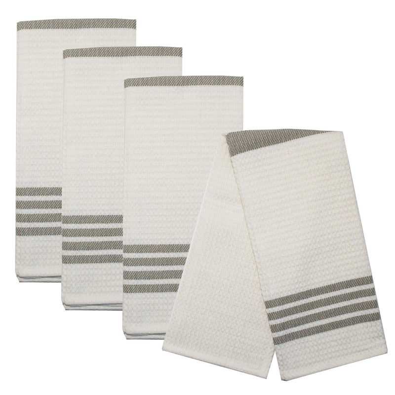 Baronne 3 Stripe Border Towel Set of 4 - Gray