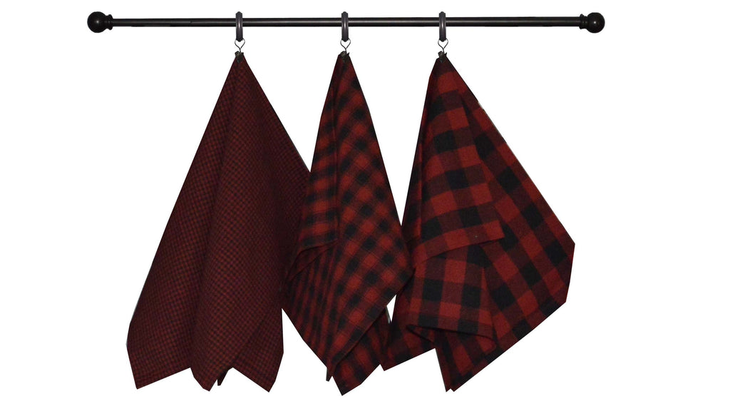 Dunroven House Tea Towel Red and Black Check Series