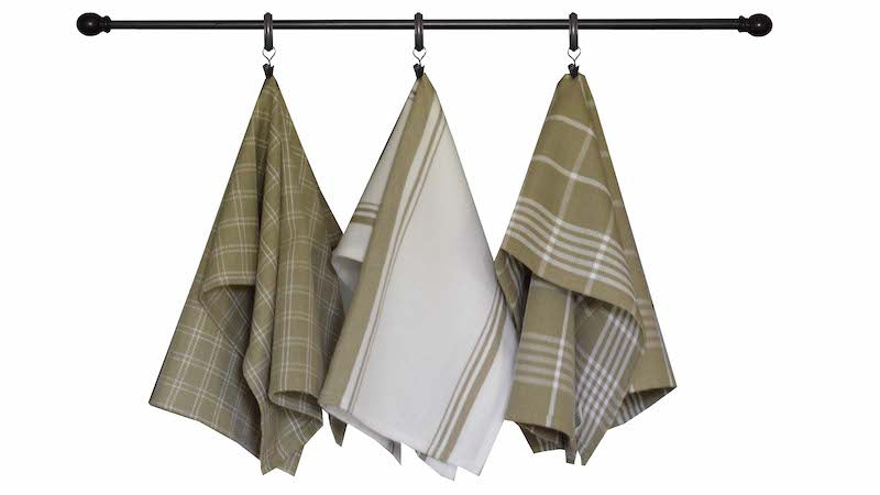 Tea Towel - Dunroven House Home Collection Picnic Plaid Taupe and White