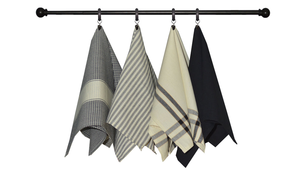 Variety Towel Set - Black and Cream Set of 4