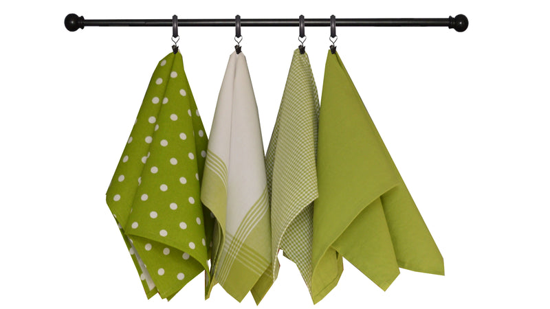 Variety Towel Set - Green and White Set of 4