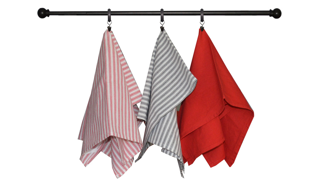 Valentine's Seasonal Towel Set of 3 - Bright Red and Black