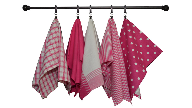 Valentine's Seasonal Towel Set of 5 - Pink and White