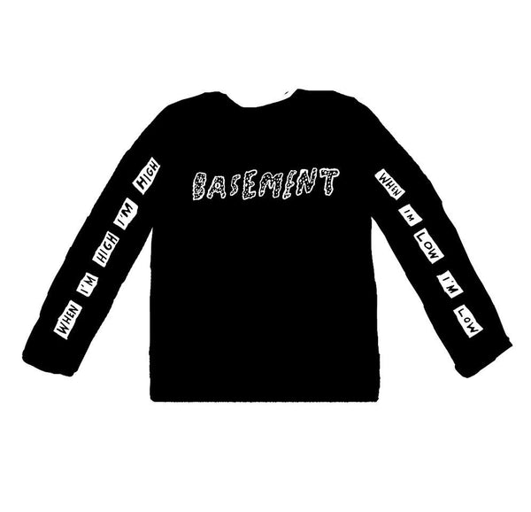 HIGH LOW BLACK LONG-SLEEVE T-SHIRT