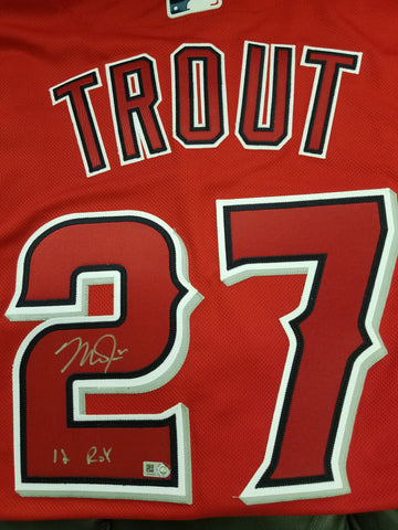 "Mike Trout ""2012 AL ROY"" Autographed Red Jersey"