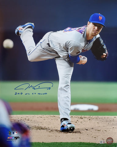 "Jacob deGrom Autographed 16x20 Photograph with ""2018 NL Cy Young"" Inscription (Vertical 2018 Action)"